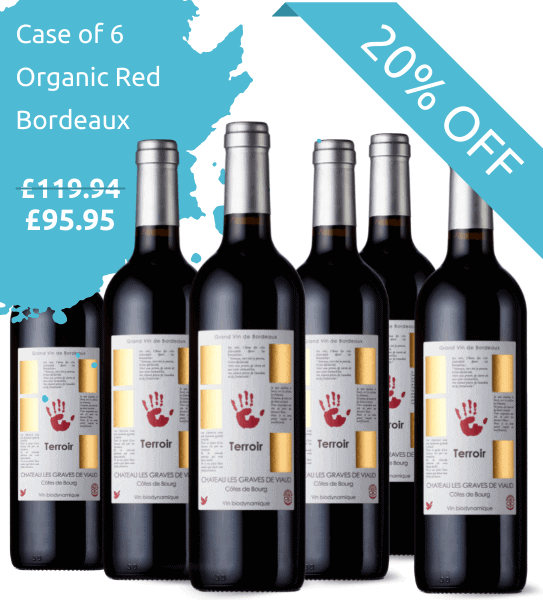 Organic bordeaux wine bottles